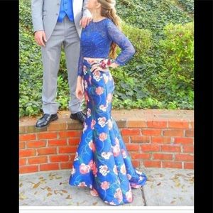 Two piece prom dress. Lace top, satin skirt.